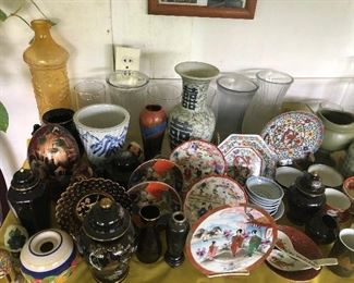 Oriental and vintage dishes, glassware