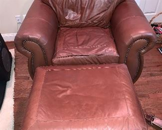 """Oversized leather arm chair with ottoman in great condition 44""""x36"""" - Price $650"""