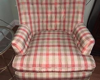 Upholstered plaid chair in great condition $350