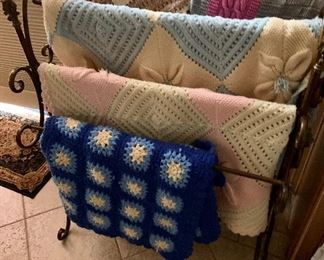 Hand knit Blankets Tagged at $120 - THIS SALE WEEK ONLY FOR $60 2 ANTIQUES Blanket Racks left : THIS SALE WEEK ONLY $50 Each!