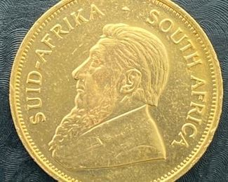 1 ounce Gold Krugerrand for auction at www.aikenvintage.com