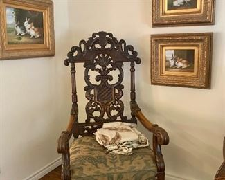 Pair of Gorgeous Carved Arm Chairs with Summer Slipcovers