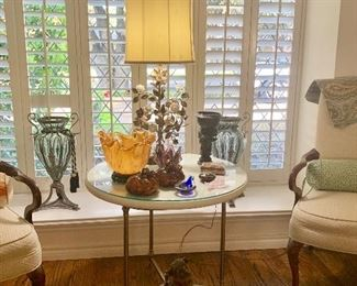 Art Glass, Vintage Enameled Lamp, Brass & Glass Side Table with Two Tops!