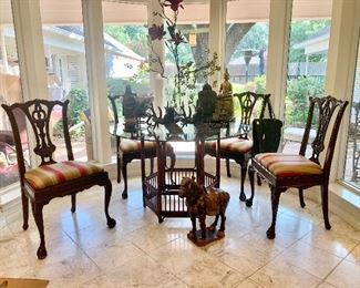 Bamboo & Glass Top Table, Four Chippendale Style Chairs