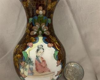 "6"" Cloisonné Enamel over brass vase $25"