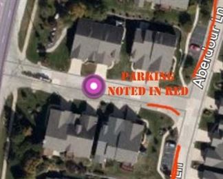 Since the condo is near the main street, please park in the designated spots and/or, along the red areas.  I will have no parking signs in front of the homes on the sale street only.