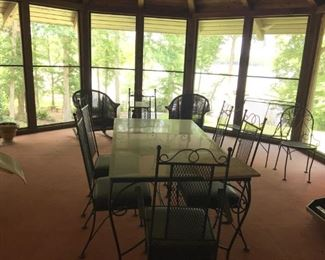 Wrought Iron/Glass Outdoor table and chairs