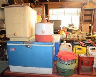 old coolers including a Coleman metal cooler