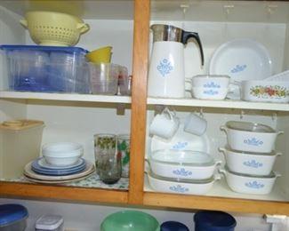 Corning Ware Blue Cornflower coffee pot, pie plates, casserole dishes