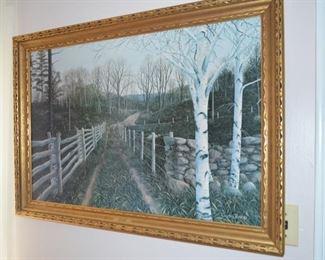 """Von Trier """"Birch Path"""" print on board"""