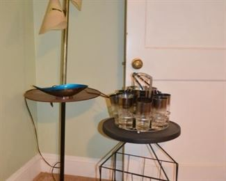 Mid-century pole table lamp (as is)