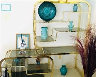 Milo Baughman Shelving Unit $1350, blue vases $70, $30, and $10 and  $7