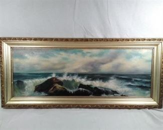 Antique Painting on Canvas Shore Line