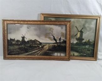 Antique pictures, windmill feathers