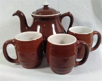 Hall Chocolate Brown teapot and barrel mugs