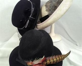 Vintage hats featuring feathers