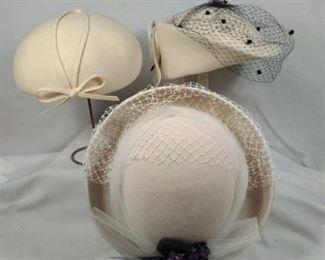 Vintage ladies wool hats in cream
