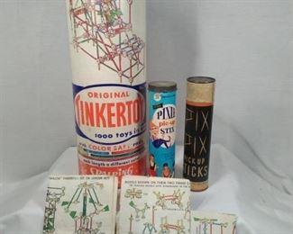 Vintage tinkertoy and Pixie stix
