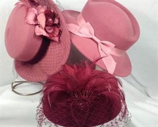 vintage wool hats in rose made in USA