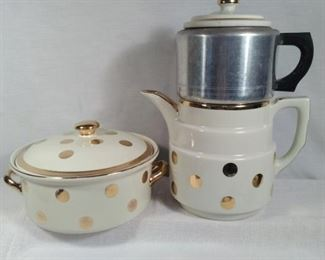 Halls Superior Kitchenware with gold and polka dots
