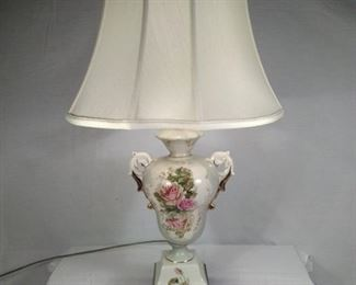 antique porcelain lamp with roses
