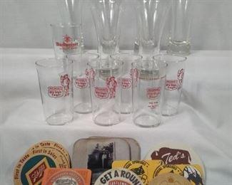 vintage beer glasses and coasters