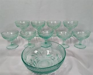 vintage green sherbert bowls