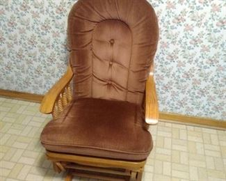 wood gliding chair with cushions