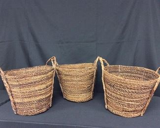 "Handled Baskets, 10 1/2"" H."