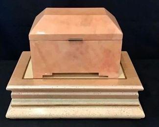 "Decorative Boxes. Top Box is 10"" W x 7"" H x 6"" D. Bottom Box is 16"" W x 4 1/2"" H x 10 1/2"" D."