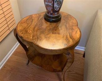 "Lot #801 - $600 - Gorgeous Burl Wood Side Table (23.5"" W x 26.5"" H)"
