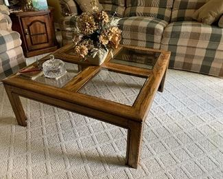 4 pane glass and wood, square Coffee Table