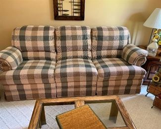 Like New -- Double-sided recliner couch w/matching loveseat