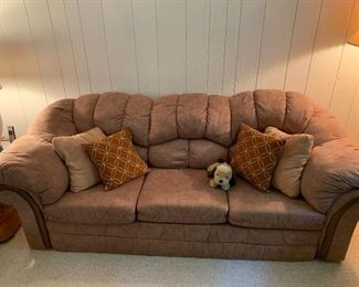 Upholstered, 3 cushioned couch-like new  w/matching loveseat