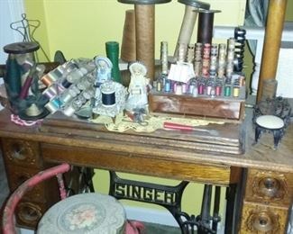 Antique Singer Treadle Sewing Machine with Cabinet, Sewing Notions, large spools