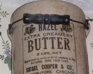 Vintage Hazel Extra Creamery Butter Advertising Crock with Bail Handle