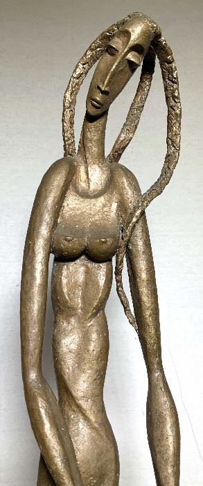 Large Abstract Figural Bronze Nude Woman and Bird