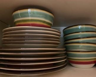 colorful stoneware set