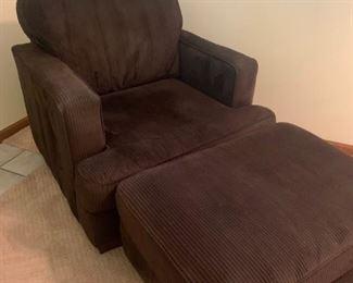 Brown soft corduroy  chair and ottoman