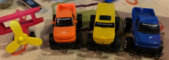 Little wood and plastic vehicles