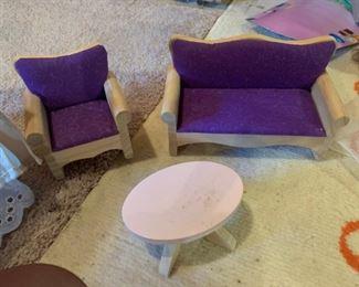 Wood doll house furniture