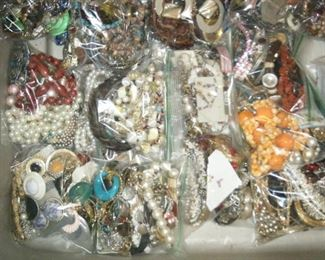 Lots of junk jewelry for parts crafts or whatever. Sold by the bag