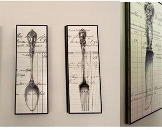 """3-Pc Chic Wall Art $150.00 Knife, Spoon, Fork  •Width:14 """"  •Height:18"""""""