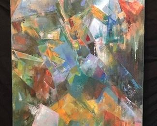 """Untitled (description: teal fractured) by Reesha Leone. Oil on canvas, 24"""" x 30"""" unframed."""