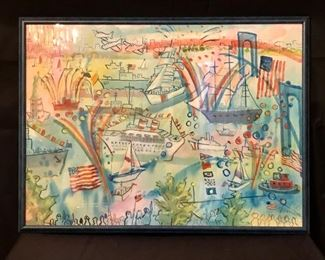 "Brooklyn Bridge Festival by Jack Demyan, 1990. Watercolor, 31"" x 23"" including frame."