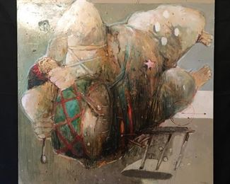 """Noces by Mohamed Lekleti. Unframed canvas, 39"""" x 39"""""""