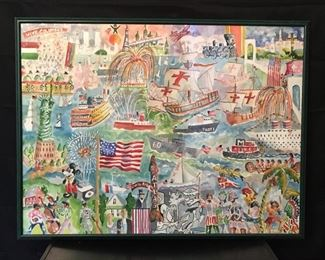 """(description: Columbus Day in New York) by Jack Demyan, 1991. Watercolor, 41"""" x 32"""" incl frame."""
