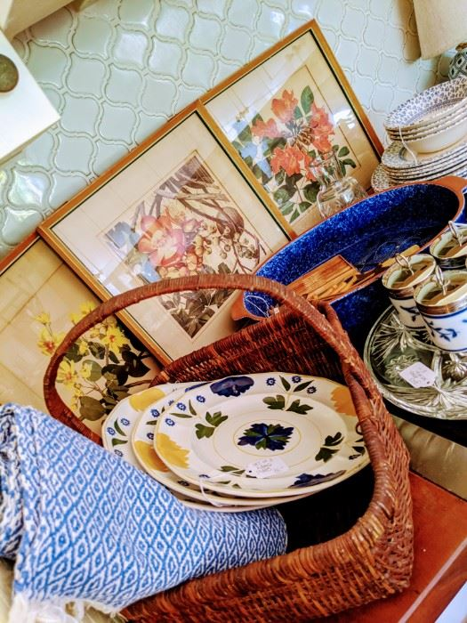 Floral prints, quality baskets, and kitchen ware.