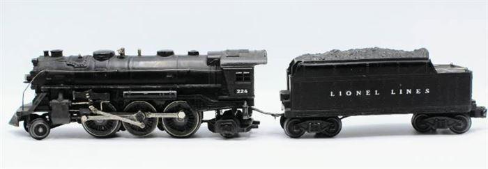 Lionel 224 Steam Engine Locomotive Black Die Cast Metal and Lionel 2466WX Tender