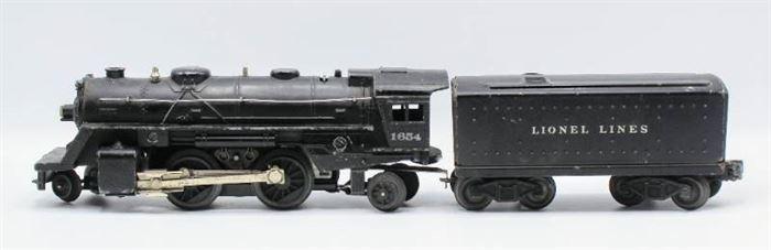 Lionel 1654 Steam Engine Locomotive Die Cast Metal Body and Lionel 1654T Tender